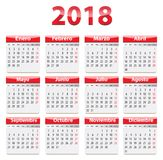 2018 Spanish calendar. Red glossy calendar for 2018 year in Spanish language. Vector illustration Stock Images