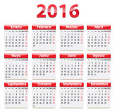 2016 Spanish calendar. Red glossy calendar for 2016 year in Spanish language. Vector illustration Stock Photo