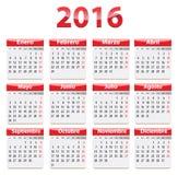 2016 Spanish calendar Stock Photo