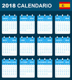 Spanish Calendar for 2018. Scheduler, agenda or diary template. Week starts on Monday Royalty Free Stock Image
