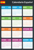 Spanish Calendar for 2018. Scheduler, agenda or diary template. Week starts on Monday Royalty Free Stock Images
