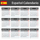 Spanish Calendar for 2018. Scheduler, agenda or diary template. Week starts on Monday Royalty Free Stock Photo
