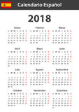Spanish Calendar for 2018. Scheduler, agenda or diary template. Week starts on Monday.  Stock Photos