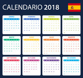 Spanish Calendar for 2018. Scheduler, agenda or diary template. Week starts on Monday.  Royalty Free Stock Image
