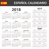 Spanish Calendar for 2018, 2019 and 2020. Scheduler, agenda or diary template. Week starts on Monday.  stock illustration