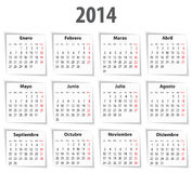 Spanish Calendar for 2014 with shadows. Mondays first Royalty Free Stock Image