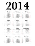 Spanish Calendar 2014 Simple black. Spanish Calendar for 2014 Simple black Royalty Free Stock Images
