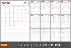Spanish calendar 2019. Spanish calendar planner 2019, week starts on Monday, set of 12 months January - December, calendar template size A4, simple design on vector illustration