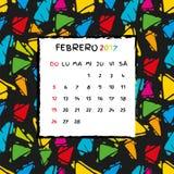 Spanish Calendar 2017 template. Gaudi pattern. Vector pattern Royalty Free Stock Images