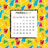 Spanish Calendar 2017 template. Gaudi pattern. Vector pattern Royalty Free Stock Image