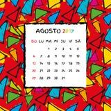 Spanish Calendar 2017 template. Gaudi pattern. Vector pattern Stock Images