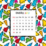 Spanish Calendar 2017 template. Gaudi pattern. Vector pattern Royalty Free Stock Photos