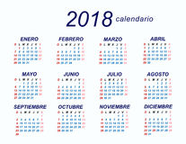 2018 Spanish Calendar. Template sample Stock Images