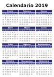 Spanish Calendar 2019 vector illustration