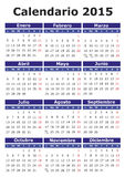 Spanish Calendar 2015. 2015 vector calendar in Spanish. Easy for edit and apply. Calendario 2015 Stock Photo