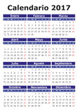 Spanish Calendar 2017. 2017 vector calendar in Spanish. Easy for edit and apply. Calendario 2017 Royalty Free Stock Photography