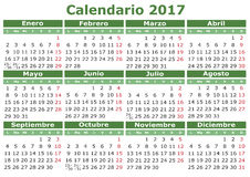 Spanish Calendar 2017. 2017 vector calendar in Spanish. Easy for edit and apply. Calendario 2017 Stock Photography