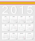 Spanish 2015 calendar. Spanish 2015 vector calendar with shadow angles. Week starts from Monday Royalty Free Stock Photos