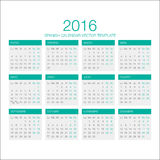 Spanish Calendar Vector 2016 Royalty Free Stock Photos