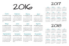 Spanish Calendar 2016-2017-2018 vector. Text is outline version 10 Royalty Free Stock Image