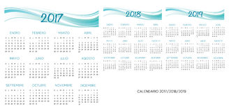 Spanish Calendar 2017-2018-2019 vector. Turquoise and blue text is outline Royalty Free Stock Photography