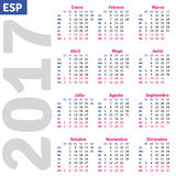 Spanish calendar 2017. Vertical calendar grid, vector Stock Photos