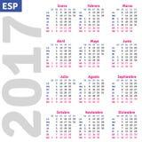 Spanish calendar 2017. Vertical calendar grid, vector Stock Photos