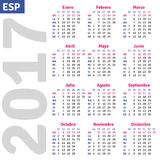 Spanish calendar 2017. Vertical calendar grid, vector Royalty Free Stock Photography