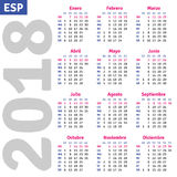 Spanish calendar 2018 Stock Photo