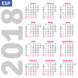 Spanish calendar 2018 Stock Photography