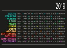 Spanish calendar 2019. Spanish calendar for year 2019 on black background royalty free illustration