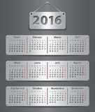 2016 Spanish calendar. Calendar for 2016 year on brown leather background in Spanish. Vector illustration Royalty Free Illustration