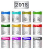 2018 Spanish calendar. Calendar for 2018 year in Spanish with colorful stickers. Vector Stock Photos