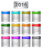 2016 Spanish calendar. Calendar for 2016 year in Spanish with colorful stickers. Vector Royalty Free Illustration