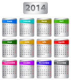 Spanish calendar 2014. Calendar for 2014 year in Spanish with colorful stickers. Vector illustration stock illustration