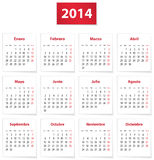 2014 Spanish calendar. Calendar for 2014 year on white papers in Spanish. Vector illustration Stock Photos