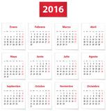 2016 Spanish calendar. Calendar for 2016 year on white papers in Spanish. Vector illustration Stock Photo