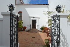 Spanish-Californian Courtyard Entrance. Taken at a Mission San Luis Rey Stock Photo