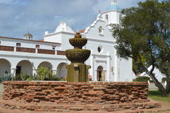 Spanish-Californian Mission Fountain. A fountain in front of the Spanish-Californian Mission San Luis Rey Stock Image