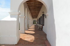 Spanish-Californian Mission Passageway. A small, red-brick passage way in the Spanish Californian San Luis Rey Mission Royalty Free Stock Image