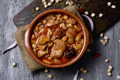Spanish callos, a beef tripe stew with chickpeas Royalty Free Stock Image