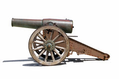 Spanish canon. An  picture of an old iron Spanish canon with shadow below Stock Image