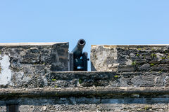 Spanish Canon. A Spanish canon guards an old fort in St. Augustine. Florida Royalty Free Stock Image