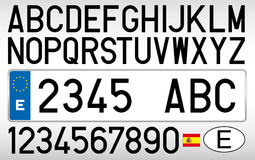 Spanish car plate, letters, numbers and symbols, Spain Royalty Free Stock Photography
