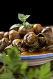 Spanish caracoles en salsa, cooked snails in sauce Royalty Free Stock Photos