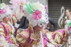 Spanish Carnival. Joy, colour and music take over the streets and the people of Badajoz from carnival Friday to Shrove Tuesday. The carnival fills with colour stock photography