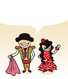 Spanish cartoon couple bubble dialogue Royalty Free Stock Image