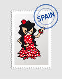 Spanish cartoon person postal stamp Stock Photos