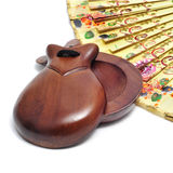 Spanish castanets and hand fan Stock Photos