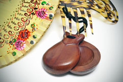 Spanish castanets, hand fan and peineta Royalty Free Stock Photos